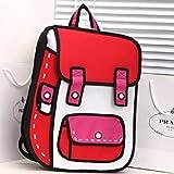 Hot3D Jump Style 2D Drawing From Cartoon Paper Bag Comic 3D Messenger School bag