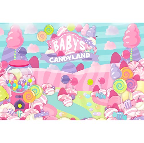 DORCEV 7x5ft Baby's Candyland Banckdrop of Baby Shower Candyland Theme Kids Birthday Party Background Cartoon Colorful Candy Sweet Pink Cloud Party Banner Kids Baby Shower Photo Studio Props]()