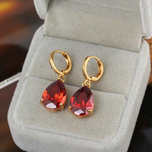 UEB Women Earrings Decent Droplet Earrings Diamante Lady Eardrop Pendant 22K Gold Filled