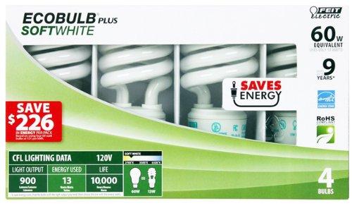 - USA Wholesaler- 26572251-Feit Ecobulb 4 Pack SoftWhite 13 Watt CFL Bulbs Case Pack 12