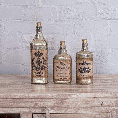 FABULIV Edwin Vintage Style Glass Decorative Bottles (Set...