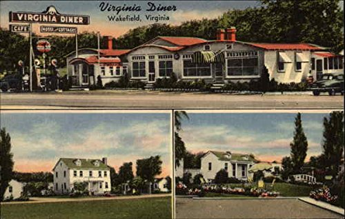 The Virginia Diner - Restaurant Motel and Cottages Wakefield Original Vintage Postcard (Wakefield Cottage)