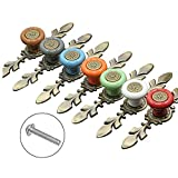 Godagoda Set of 7 Ceramic Single Hole Handle Door Knobs Vintage Shabby Chic Cupboard Drawer Pull Handles