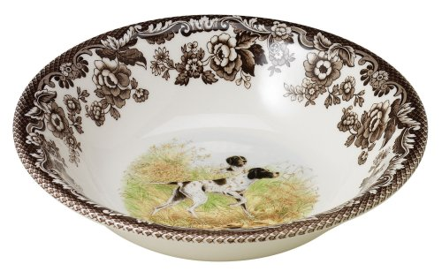 Spode Woodland Hunting Dogs Flat Coated Pointer Cereal Bowl Woodland Pasta Bowl