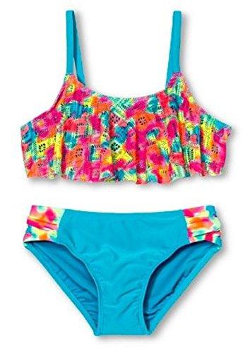 (Circo Girls' 2-Piece Rainbow Crochet Flounce Top Bikini Set (X-Small)