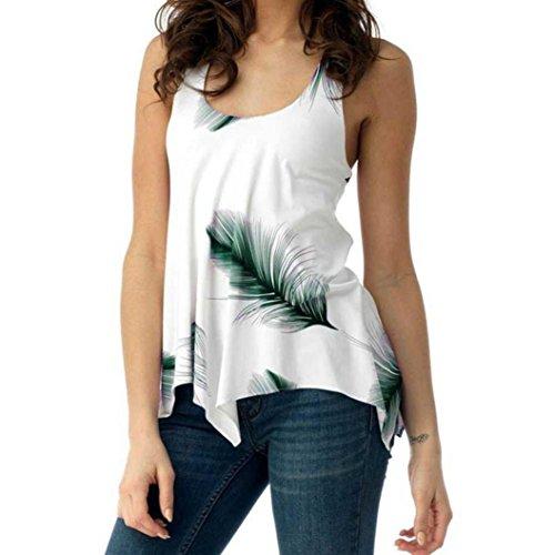 iTLOTL Women Plus Size Print Sleeveless Bandage Tank Vest Blouse Pullover Tops Shirt(US:18/CN:XXXXXL, Green)