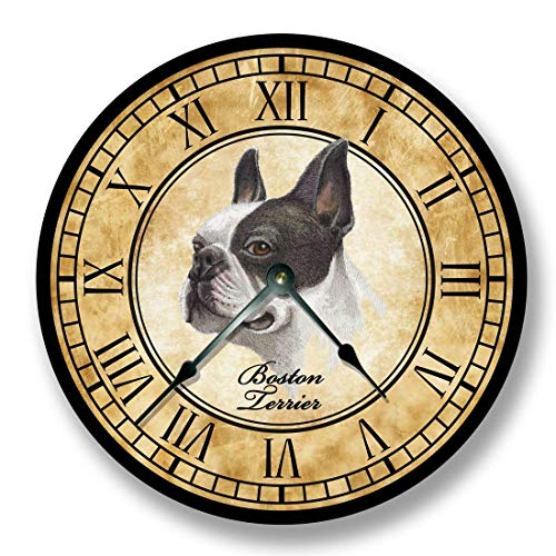(Fancy This Boston Terrier Dog Wall Clock Antique Decor)