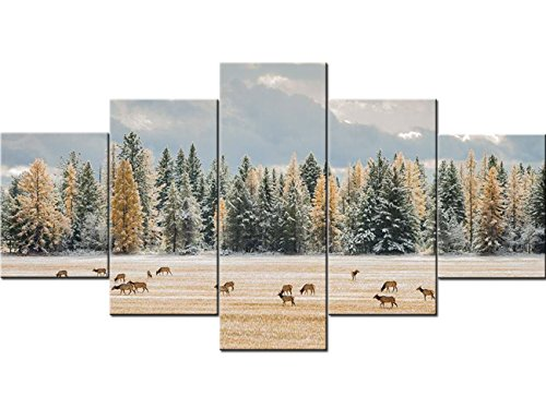 - Framed Wall Art 5 Piece Canvas Wall Art Elk Grazing Snowy Field near Firs and Tamarack Pictures Paintings Ready to Hang Artwork Home Decorations for Living Room Wall Decor Gallery-wrapped(60''Wx32''H)
