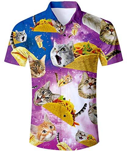 Men's Aloha Shirt 3D Pinted Funny Galaxy Burrito Taco Pizza Cat Cute Purple Blue Tropical Hawaiian Button Down Baggy Fitted Dress Up Tee Shirts Beach Casual Aloha Shirt Beach Casual Guys Tops Blouse