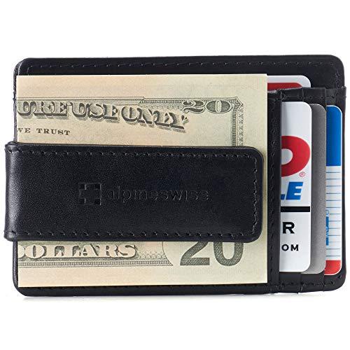Alpine Swiss RFID Harper Money Clip Front Pocket Wallet For Men Comes in a Gift Box