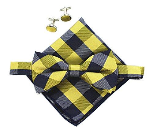 Orange Navy Blue Ckeck Silk Pre-tied Cravat Bows Ties Set Handsome Birthday Gift ()