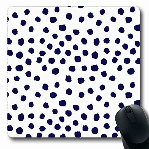 Ahawoso Mousepads Mini Dots Painterly Brush Strokes Boho Modern Indigo Blue White Preppy Nautical Dorm College Oblong Shape 7.9 x 9.5 Inches Oblong Gaming Mouse Pad Non-Slip Rubber Mat