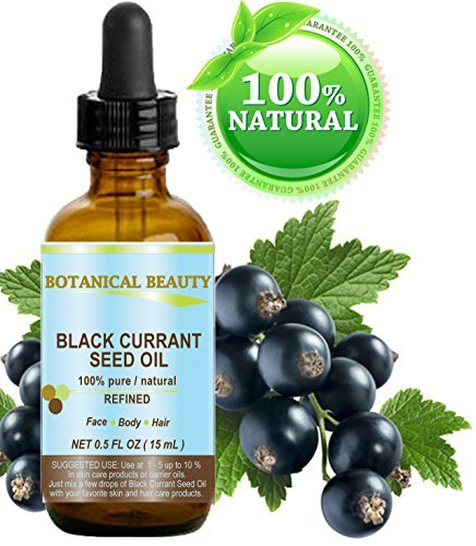 BLACK CURRANT SEED OIL. 100% Pure / Natural / Undiluted / Refined Cold Pressed Carrier oil. 0.5 Fl.oz. - 15ml. For Skin, Hair, Lip and Nail Care.