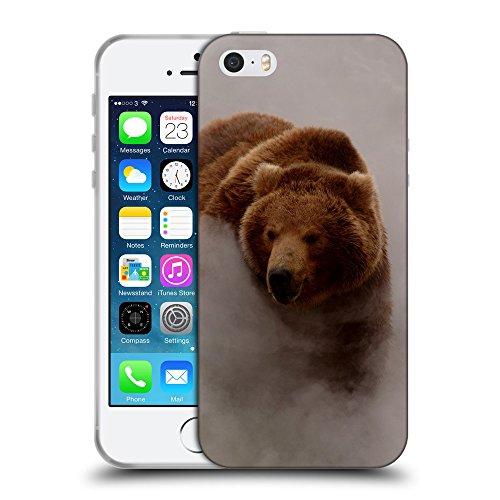Just Phone Cases Coque de Protection TPU Silicone Case pour // V00004093 Ours marchant dans un brouillard matinal // Apple iPhone 5 5S 5G SE