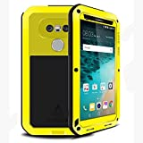 LG G5 Case, Hwota Waterproof Gorilla Glass Luxury Aluminum Alloy Protective Metal Extreme Shockproof Military Bumper Heavy Duty Cover Shell Case Skin Protector for LG G5 (Yellow)