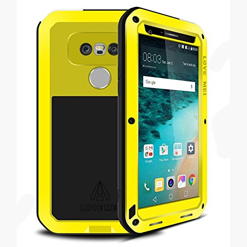 LG G5 Case, Hwota Waterproof Gorilla Glass Luxury Aluminum Alloy Protective Metal Extreme Shockproof Military Bumper Heavy Duty Cover Shell Case Skin Protector for LG G5 (Yellow) by Hwota