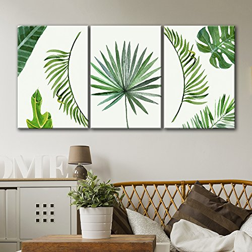 wall26 3 Panel Canvas Wall Art - Watercolor Style Green Trop