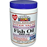 21st Century, Fish Oil, Omega-3, 1000 mg, 300 Softgels - 2PC