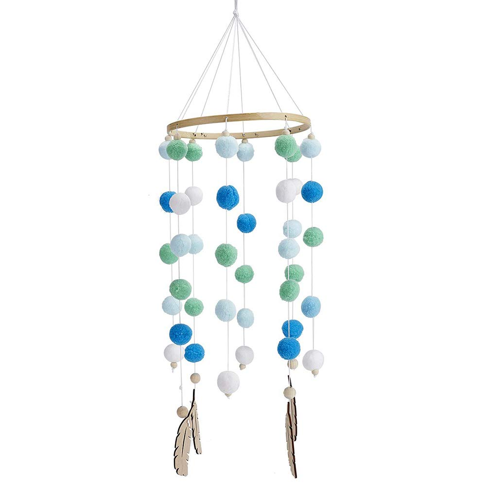 Baby Mobile Crib Bed IWILCS Baby Mobile Wind Chimes Wooden Balls Wind Chime Felt Ball Mobile Wind Chime Baby Crib Mobile Hanging Decoration for Bedroom Ceiling Decor Photography Props