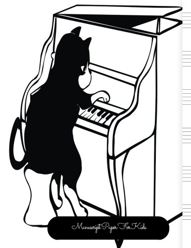 Manuscript Paper For Kids: Cat Large, Empty Staff, Manuscript Sheets Notation Paper For Composing For Musicians, Students, Songwriting. Book Notebook Journal 100 Pages  8.5x11