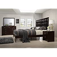 Gloria Brown Cherry Finish Wood Bed Room Set, Queen Bed, Dresser, Mirror, Night Stand