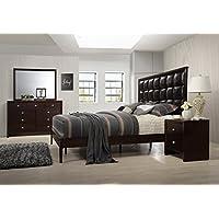 Gloria Brown Cherry Finish Wood Bed Room Set, Queen Bed, Dresser, Mirror, Night Stand