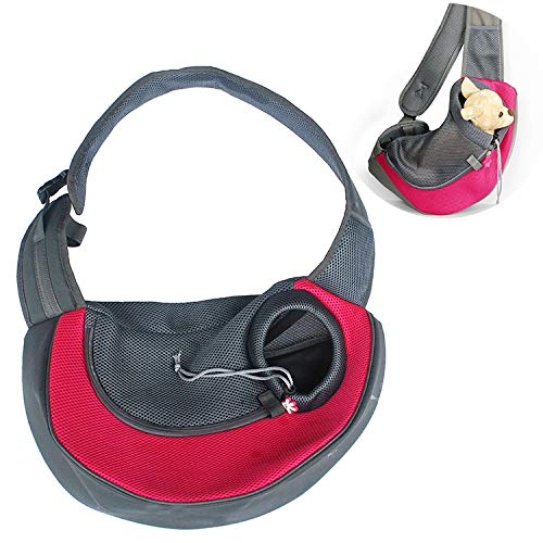 Red HHF Pet Supplies Pet Papoose Bag Dog and Cat Sling Carrier Hands Free Reversible, Size:Small (color   Red)