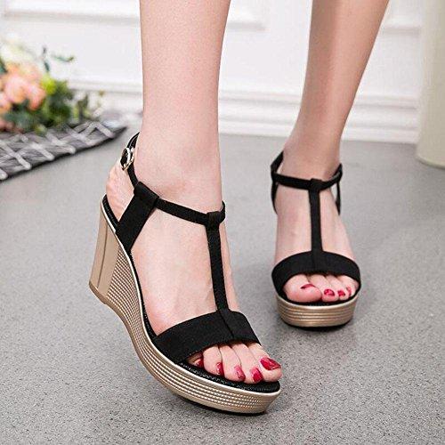 L@YC Damen Sommer Sandalen Leder Thick Bottom Wasserdichte Tisch Slope Mit Fisch Mund 897 Schuhe , black , 36