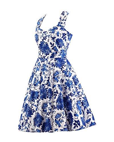 ... MISSMAO Vintage Rockabilly Kleid Blumen Neckholder Cocktailkleider 50s  Hepburn Kleid Festlich Petticoat Kleid Weiß   Blau ... 3187ff3a2a