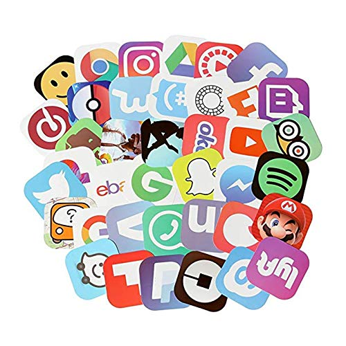 50 App Stickers, Social Media Stickers for Laptop and Anywhere, Vinyl Decals, UV Protected & - Logo Icon