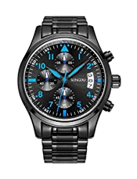 SONGDU Mens Waterproof Chronograph Business Casual Quartz Stainless Steel Watches with Blue Cool Hand