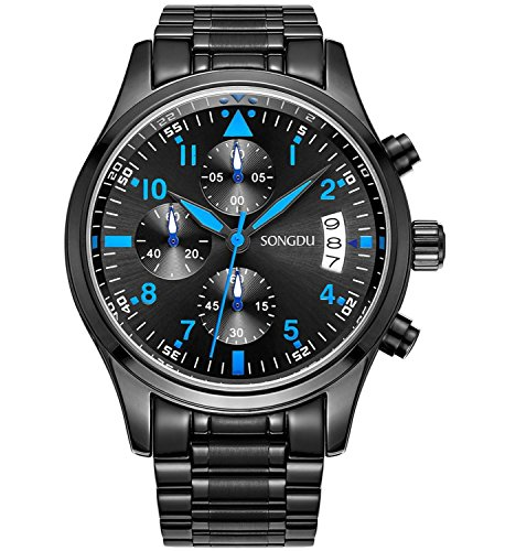 SONGDU Mens Quartz Multifunction Big Face Casual Date Watch Cool Blue Hand Stainless Steel Band
