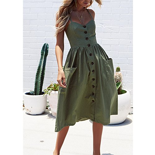 123 Dress Beach Sexy Strapless Women Sleeve SYGoodBUY Chic Backless Green Long Printed Summer Army Sleeveless Casual Dress BpRwqBA