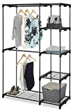 Whitmor Freestanding Portable Closet Organizer - Heavy Duty Black Steel Frame - Double Rod Wardrobe Cloths Storage With 5 Shelves & Shoe Rack for Home or Office - Size: 45-1/4 x 19-1/4 x 68'