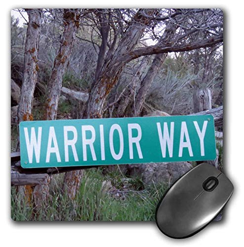 3dRose Jos Fauxtographee- Warrior Way - A Sign That says Warrior Way in Green Near a Forest - Mousepad (mp_319014_1)