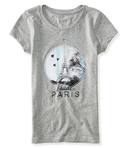 (P.S. From Aeropostale Girls Paris Heart Graphic T Shirt 7 Light Heather Grey)