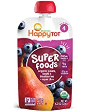 Happy Family Organics Stage 4 Baby Food Contains Pears Blueberries Beets Super Chia Resealable Pouch Non GMO Gluten Free 120g, 1 Pack