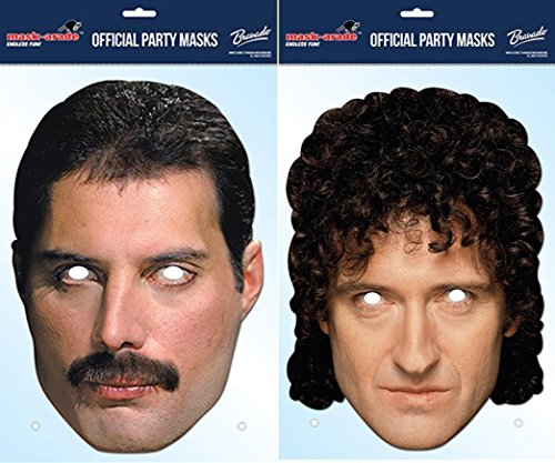 TWIN PACK - Queen's Brian May & Freddie Mercury - Celebrity Face Masks (Celebrity Face Masks)