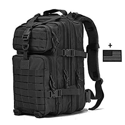 VVEFFO Small Military Tactical Backpack 3 Day Assault Pack Army Molle Bug Out Bag Backpacks Hunting Rucksacks 34L Black