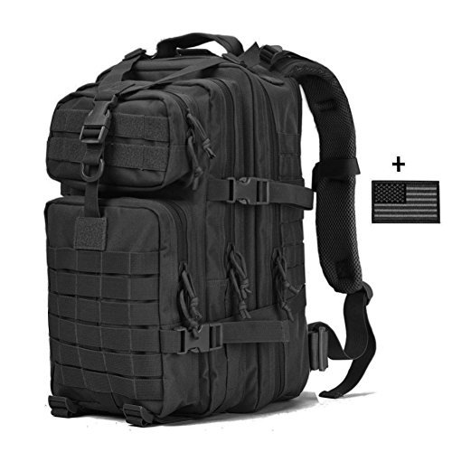 VVEFFO Small Military Tactical Backpack 3 Day Assault Pack Army Molle Bug Out Bag Backpacks Hunting Rucksacks 34L Black by VVEFFO