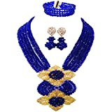 aczuv Fashion African Bead Necklace Nigerian Beads Wedding Jewelry Sets for Women