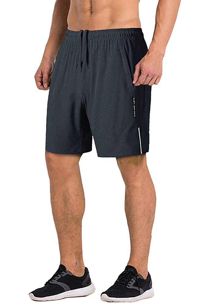 FASKUNOIE Mens Gym Shorts Breathable Traning Workout Short Quick Dry with Zipper Pockets FAS-0005-19