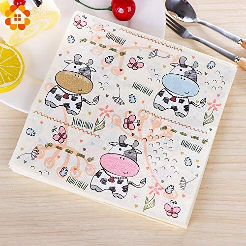 ristening Party Supplies 20PCS Cute Cartoon Cow Paper Napkin 100% Virgin Wood Tissue Paper Napkins for Kids Birthday Party Supplies Baby Shower Favors ()