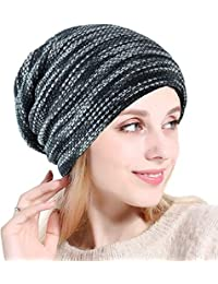 Greenis Womens Knitted Beanie Thicken Fleece Lining Hat Winter Cap for Lady Ladies Knit Slouch Winter Hat