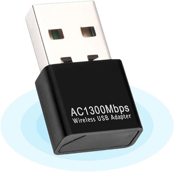 Adaptador WiFi USB,WiFi Antena USB WiFi Adaptador AC1300Mbps WiFi Dongle 5ghz Adaptador USB 2.0 Dongle Dual Band 2.4GHz 5GHz para PC de ...