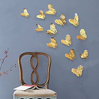 LiPing Wall Paper 3D Hollow Dancing Butterflies Wall Stickers-Removable Decal Art Home Decor Painting Supplies Room Decor Kit-Kids Bedroom Decoration