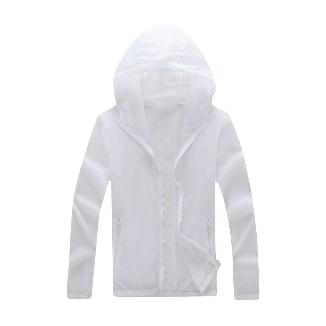 OTW Mens Summer Fashion Sunscreen Ventilation Zip up Hoodie Plus Size Jacket Coat White XS