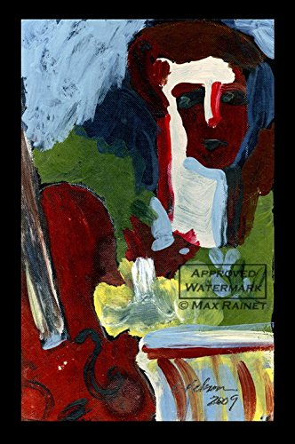 Still Life : Man's Head with Violin and Table : 2009, Fine Art Print, Hand Signed by Cathy Peterson, Artist -