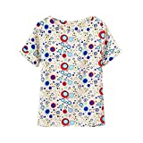 ROPALIA Ladies Girl summer Chiffon Loose Blouse Bubbles Print T-shirts Blue UsM