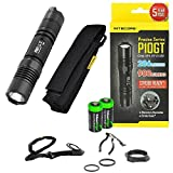 Nitecore P10GT 900 Lumen high intensity CREE LED 312 Yards specialized tactical duty Strobe Ready compact flashlight with 2X EdisonBright CR123A Lithium Batteries